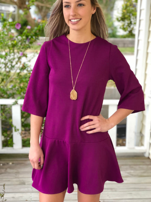 3/4 Bell Sleeve Dropped Waist Tunic Dress