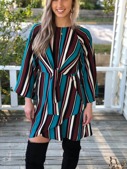 Stripe Front Tie Dress