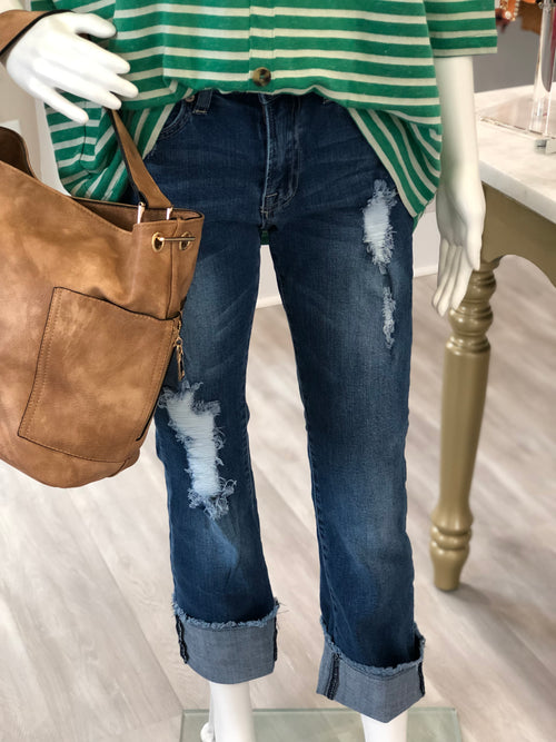 Distressed High Waisted 5-Pocket Cuffed Denim Bootcut Jeans