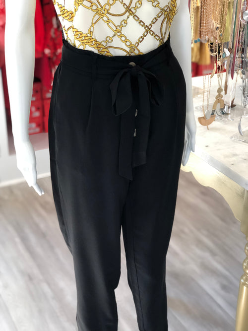 Tortoise Button High Waisted Pant