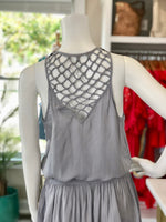 Smocked Waist Dress With Lattice Back Detail