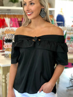 Banded Off The Shoulder Ruffle Top