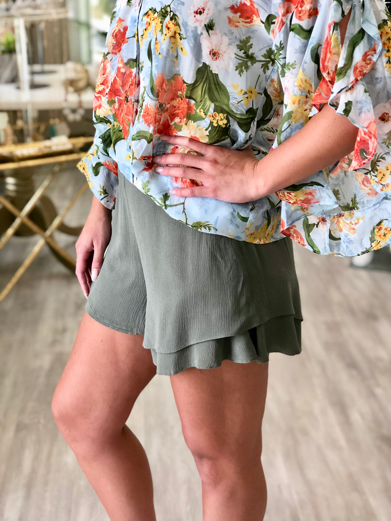 Layered Ruffle Hem Shorts