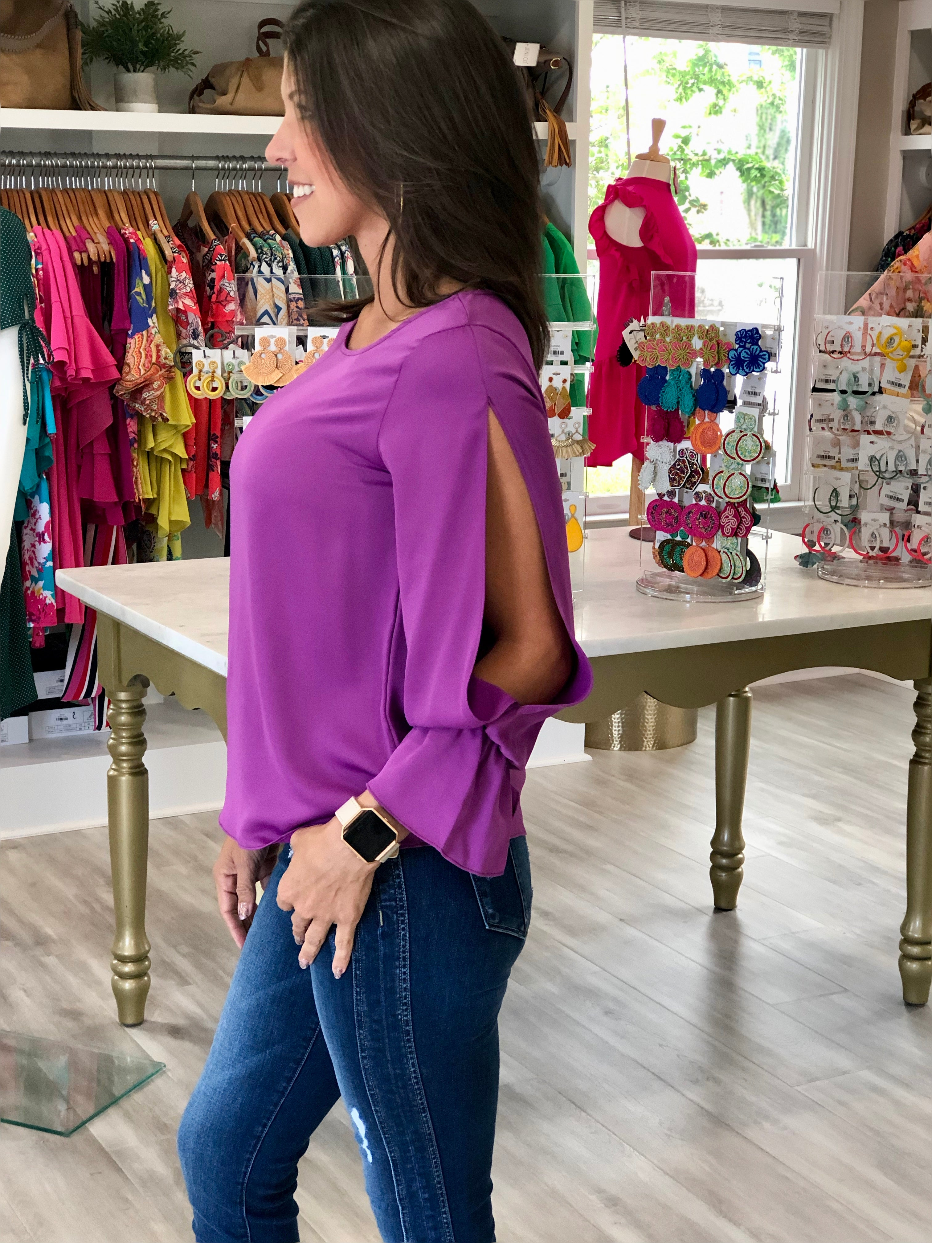 Split Sleeve Top With Elastic Cuffs