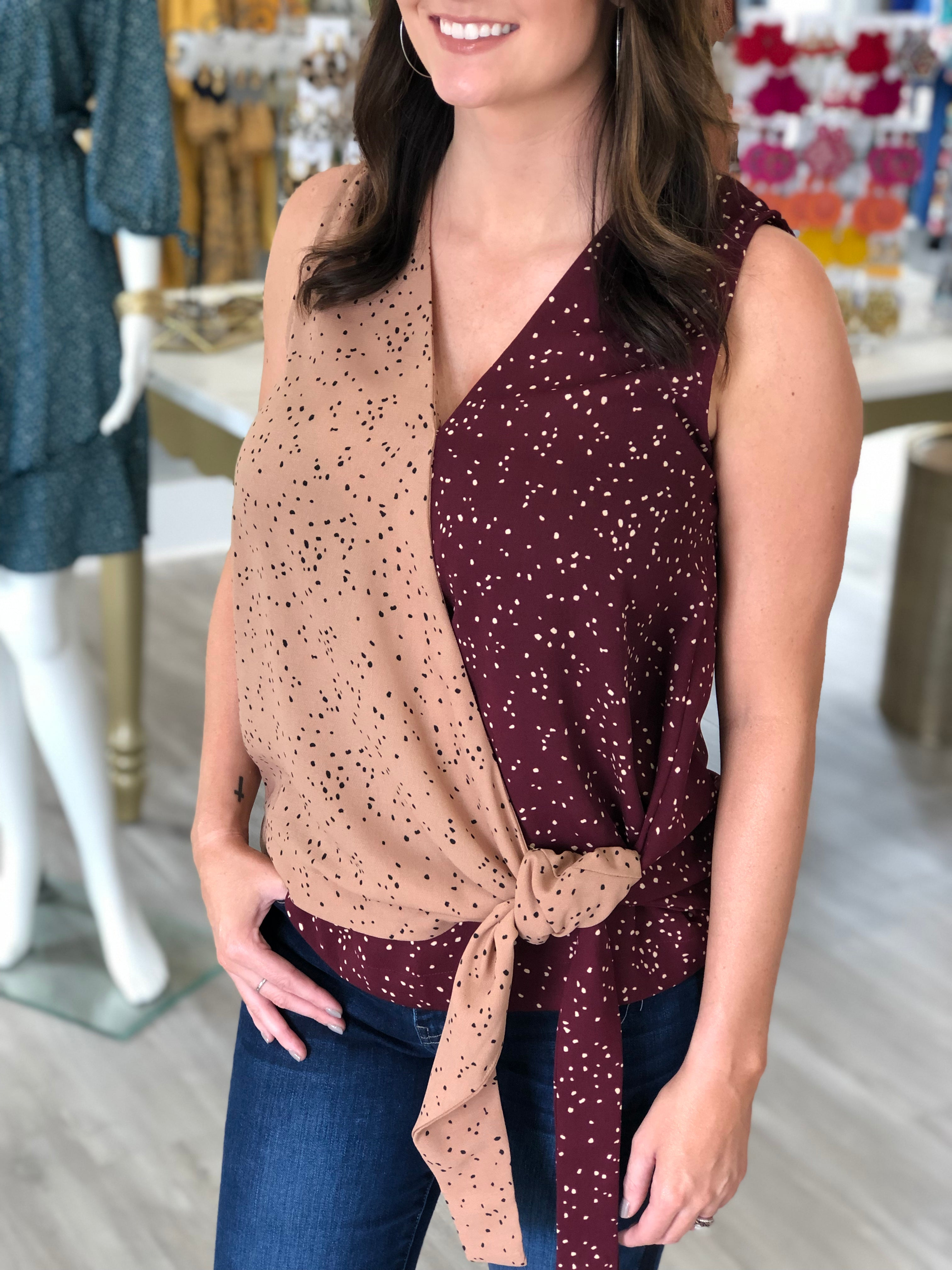 Dotted Two Tone Wrap Tank