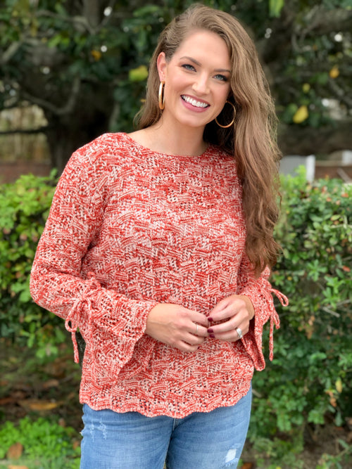 Bell Sleeve Scalloped Hem Sweater