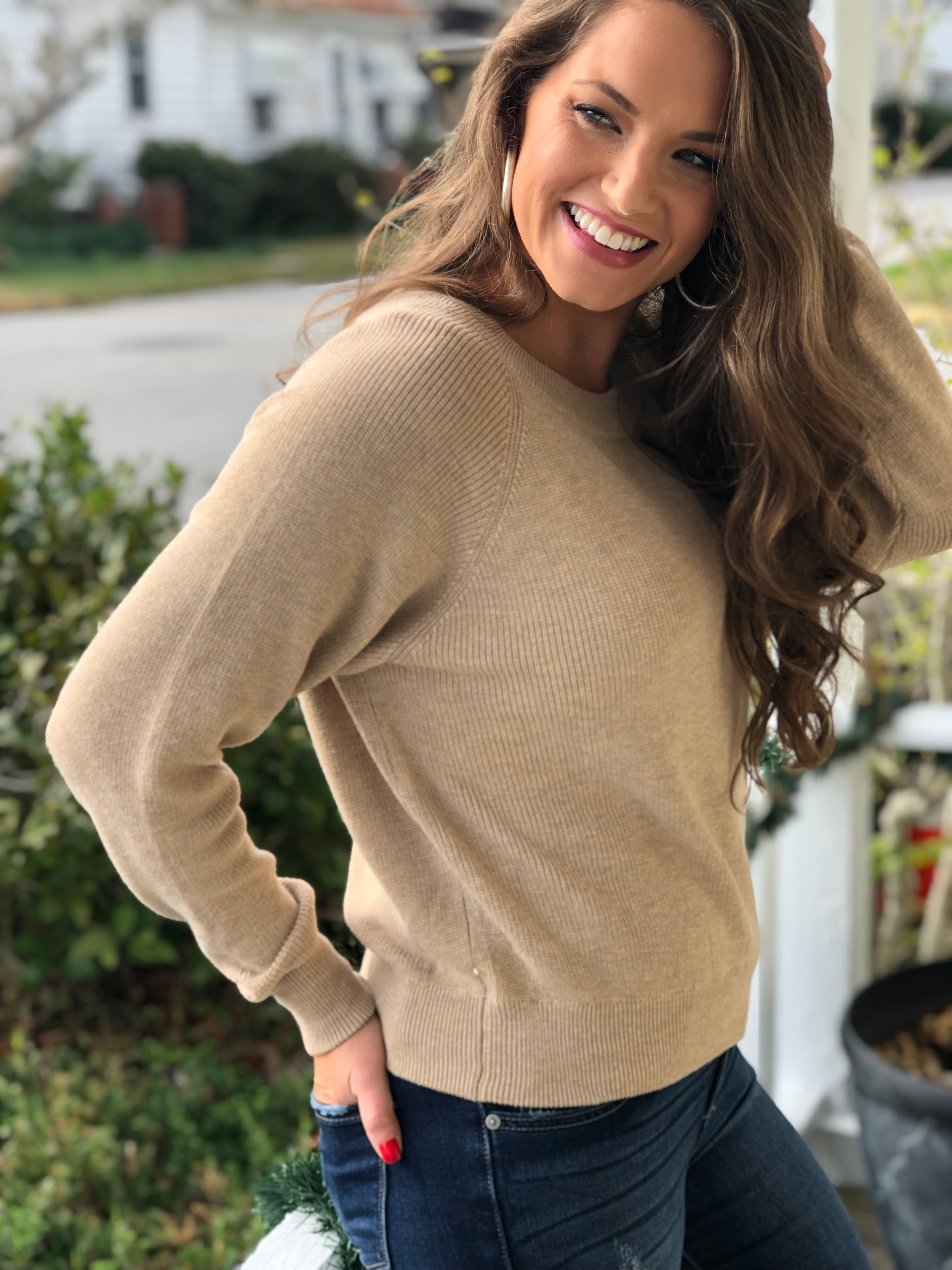 Classic Ribbed Knit Pullover Sweater