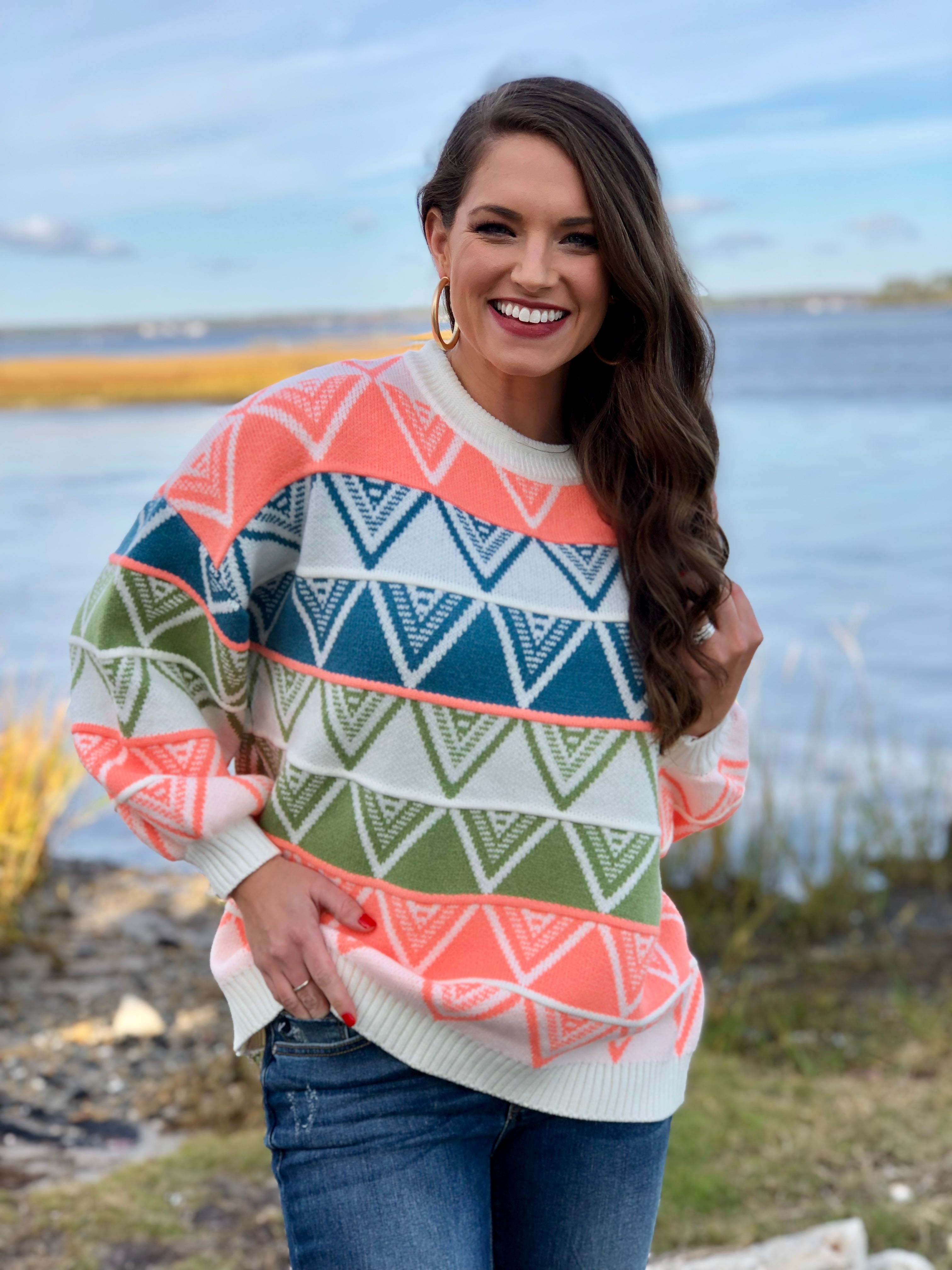 Stripe Aztec Sweater
