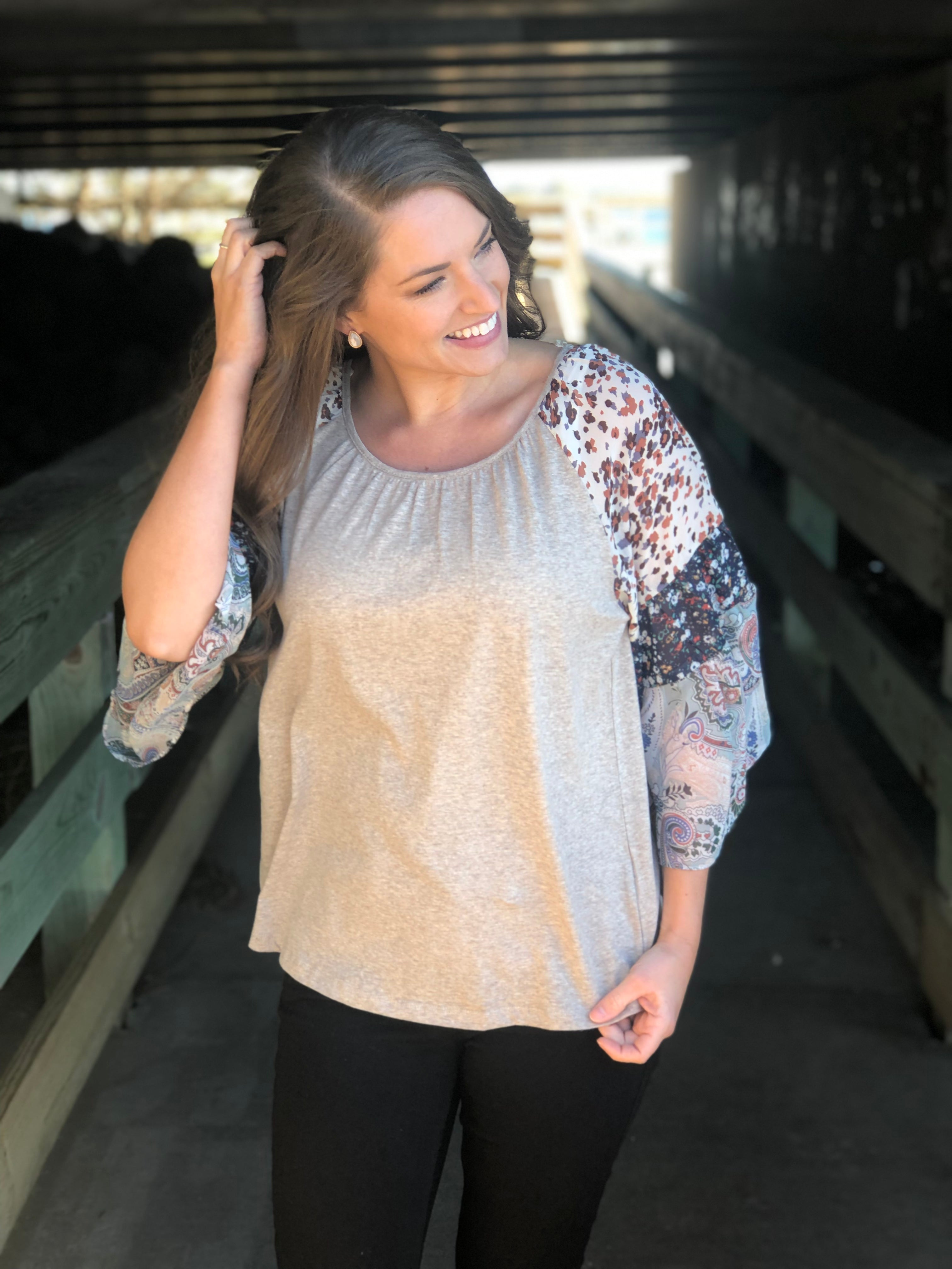 Mixed Print Sleeve Top