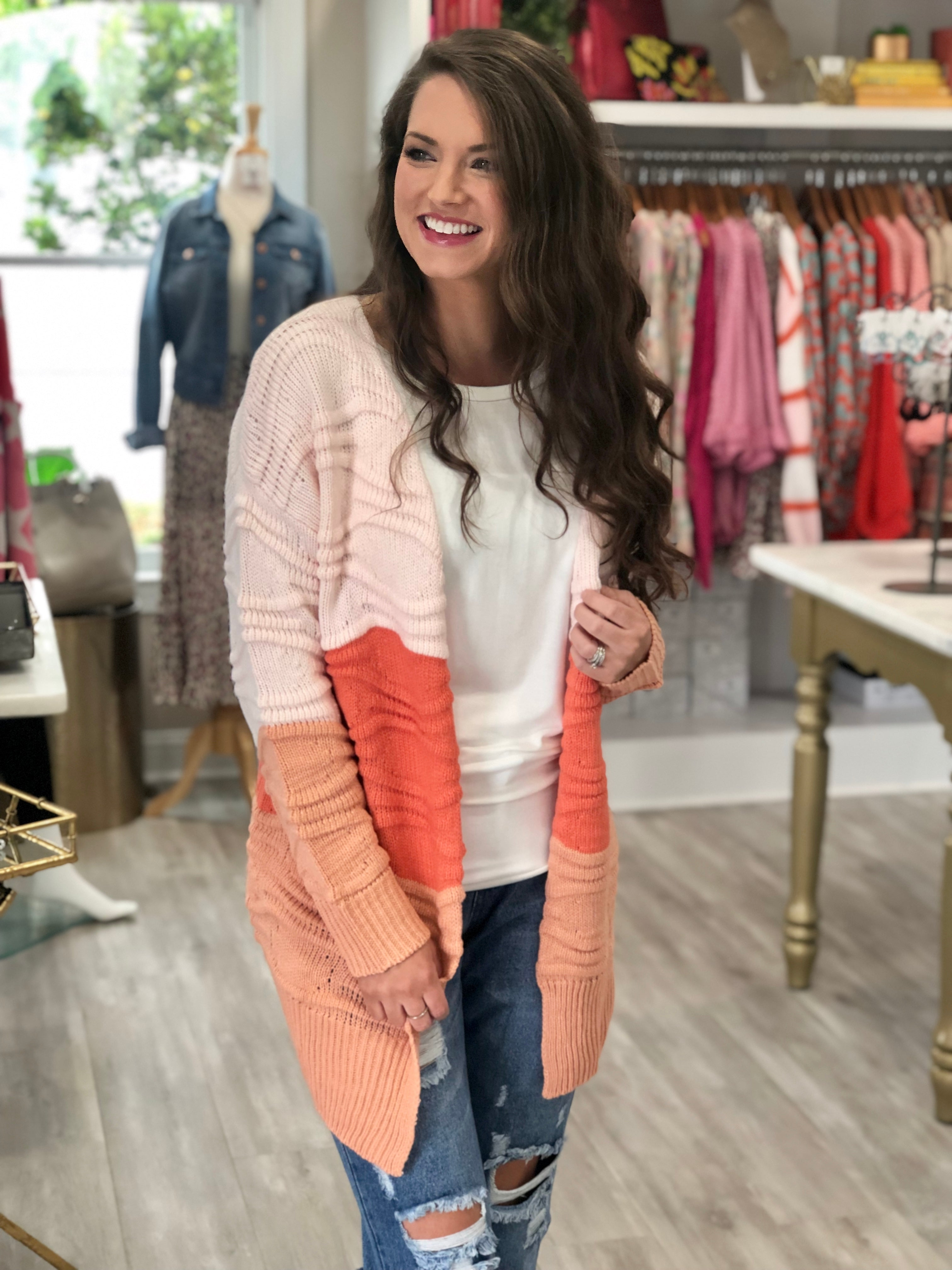 Color Block Wave Textured Cardigan