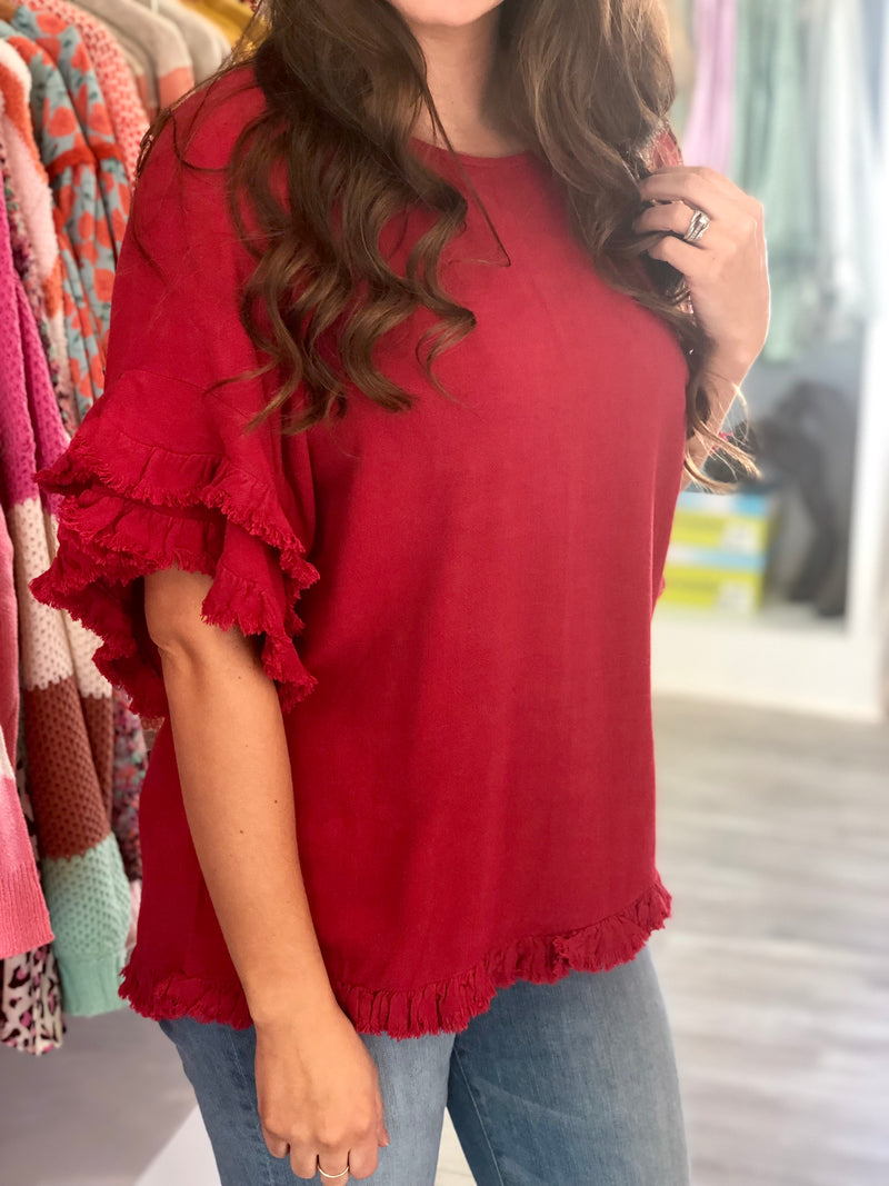 Layered Frayed Sleeve Top
