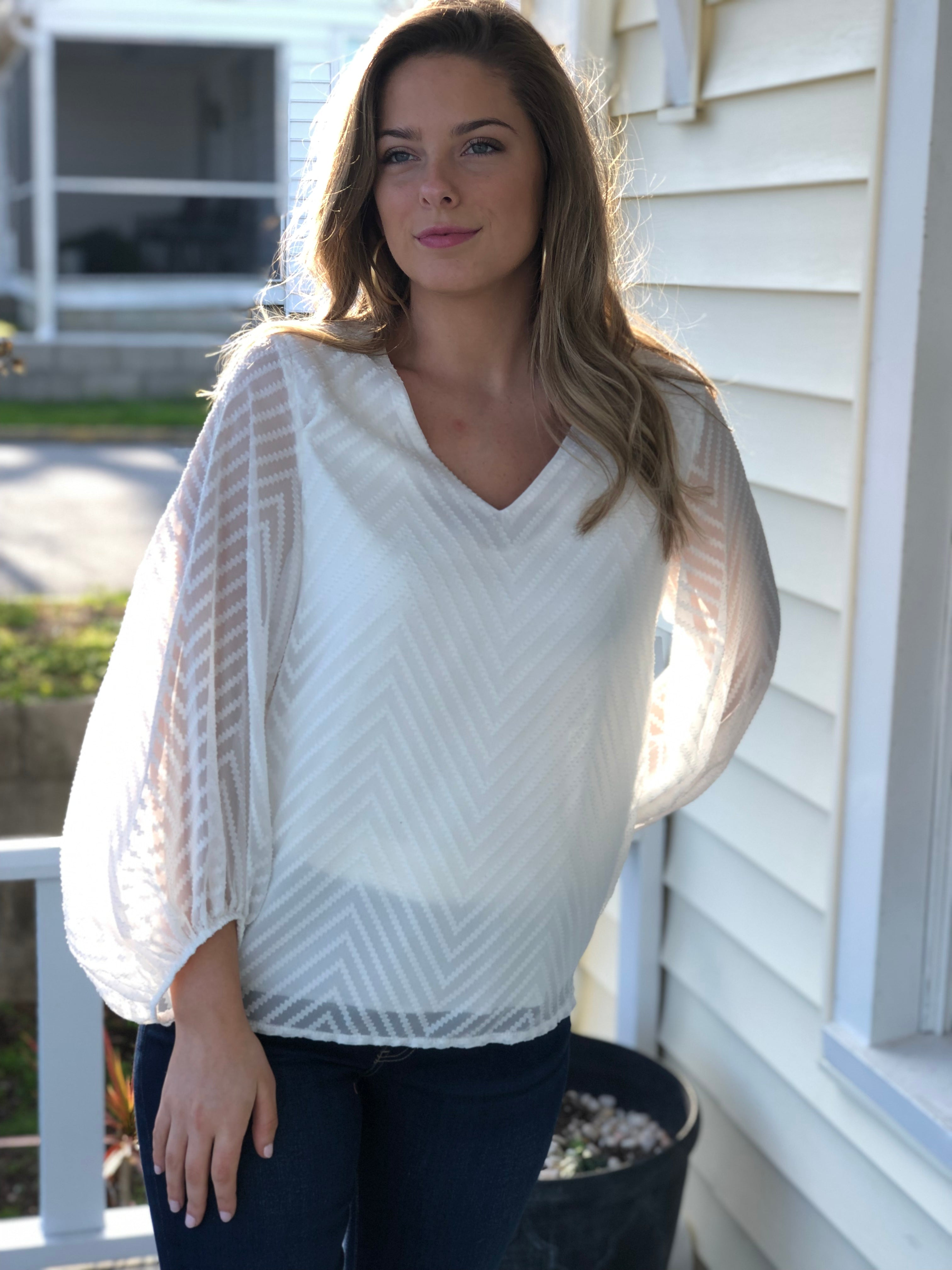 Chevron Stitch Billowy Sleeve Top