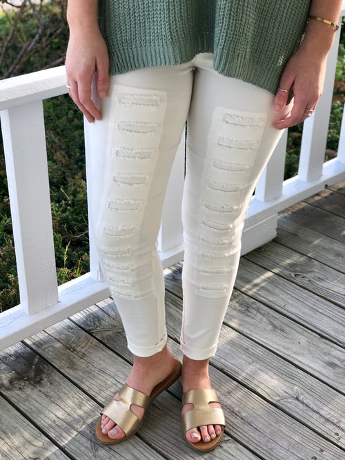 Distressed Detail Cotton Jegging