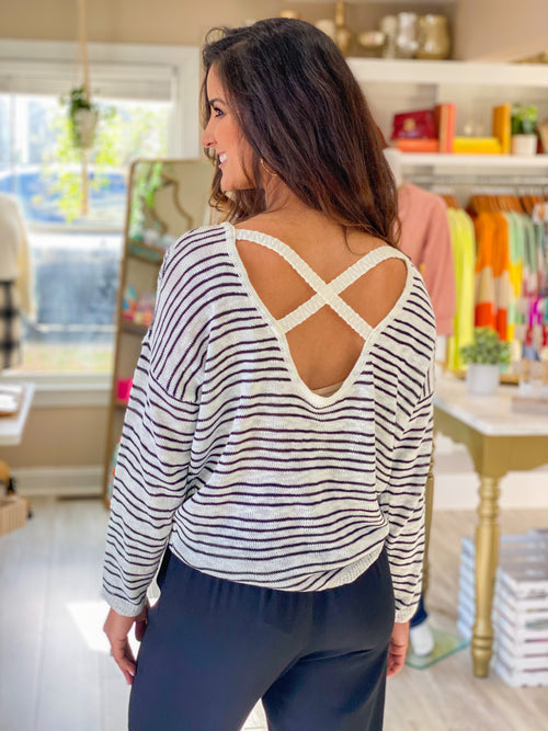 Stripe Criss Cross Back Sweater