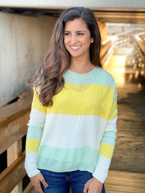 Sunny Color Block Lightweight Sweater