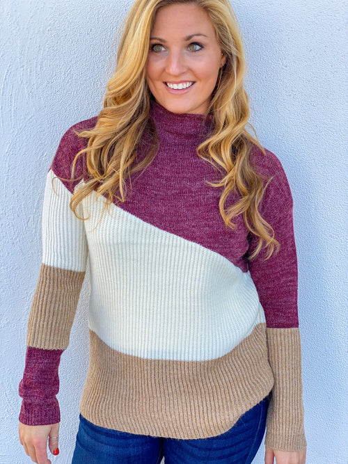 Color Block Tunic Length Sweater