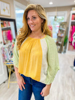 Color Block Top Ruffle Sleeve Top
