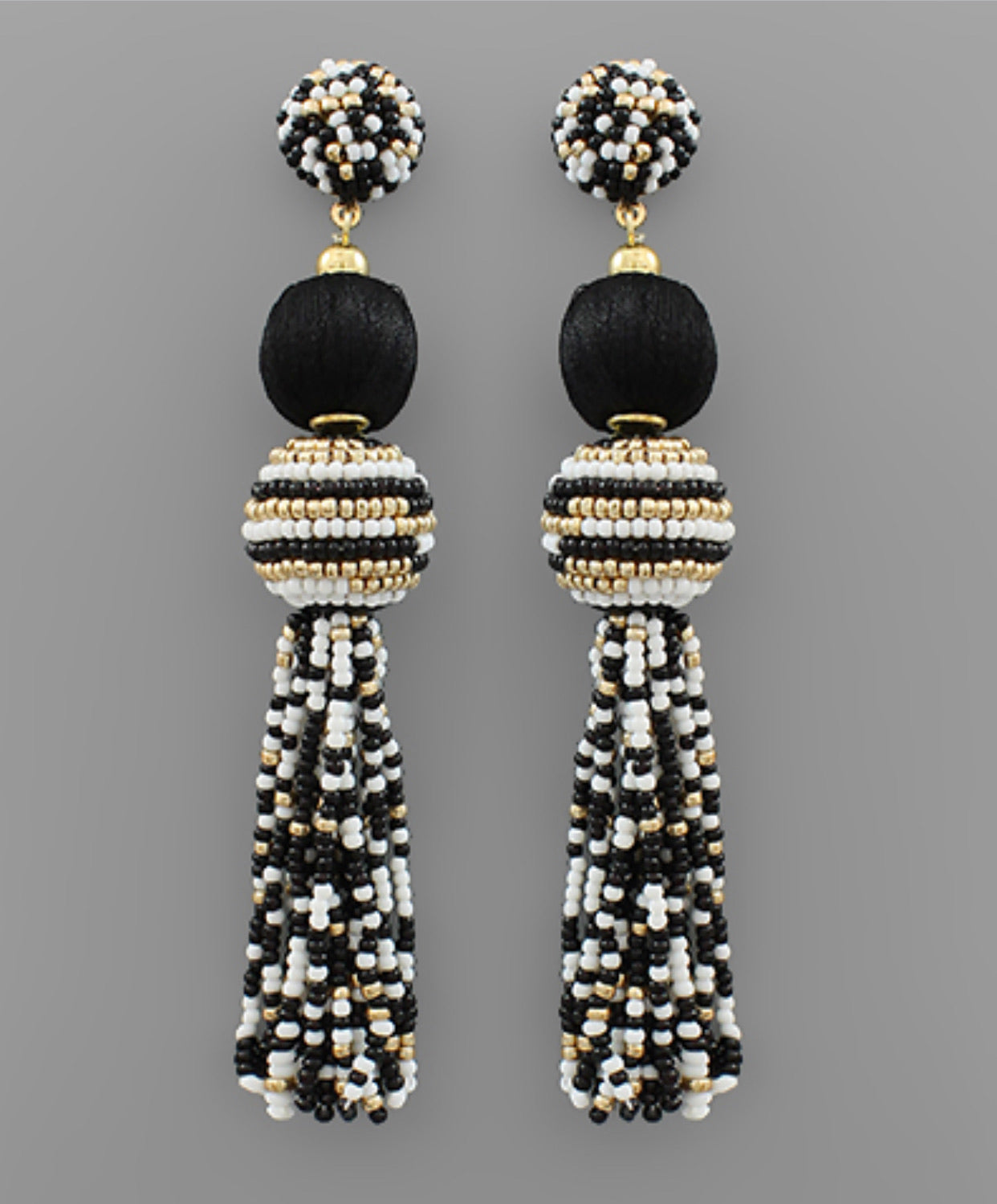 Bead Ball & Tassel Earrings