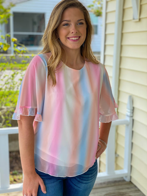 Faded Rainbow Stripe Woven Top