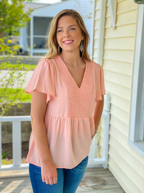 V Neck Smocked Front Baby Doll Top