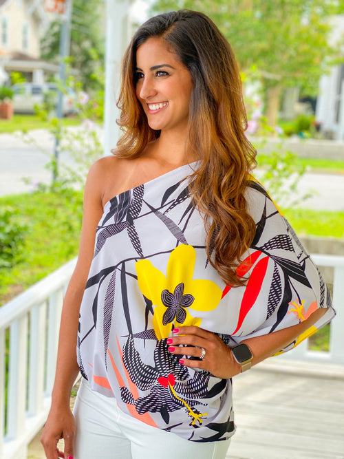 Petunia Print Slouchy One Shoulder Top