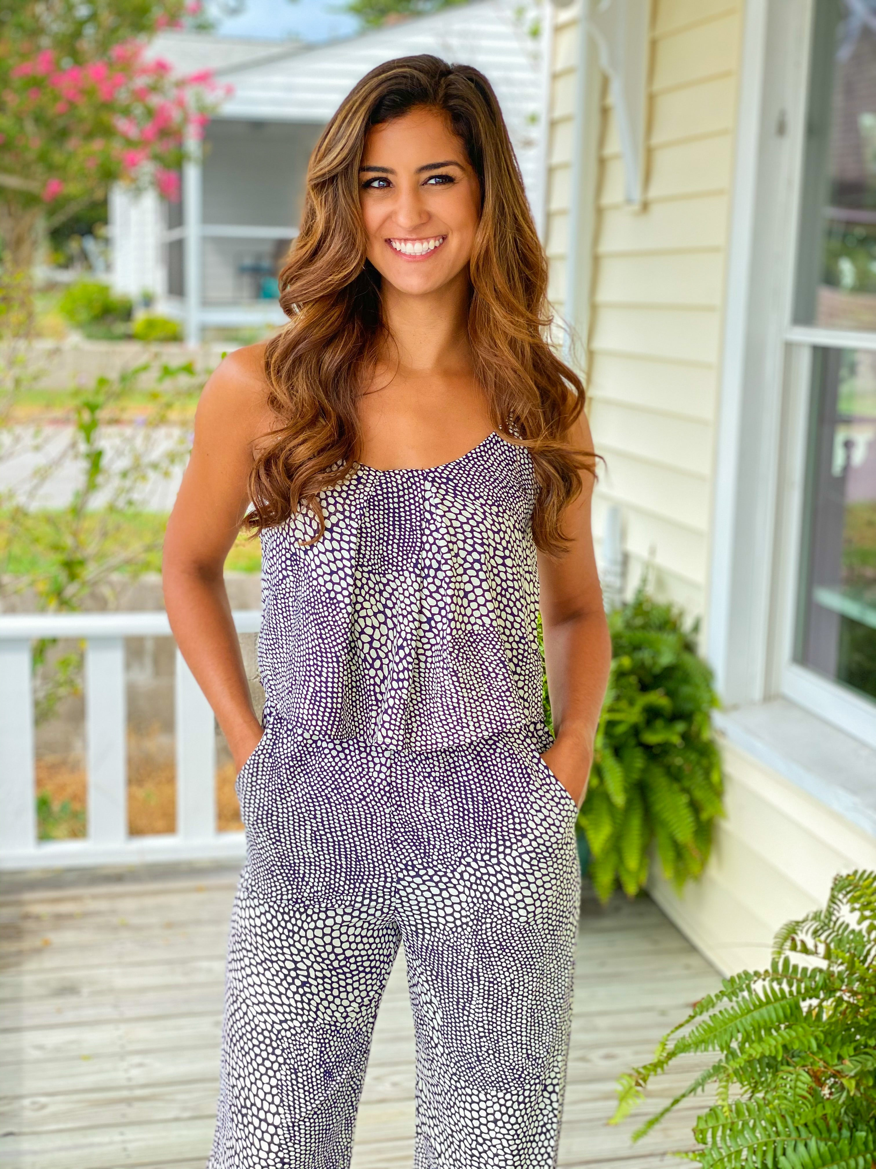 Mixed Dot Tuck Pleat Cami Jumpsuit