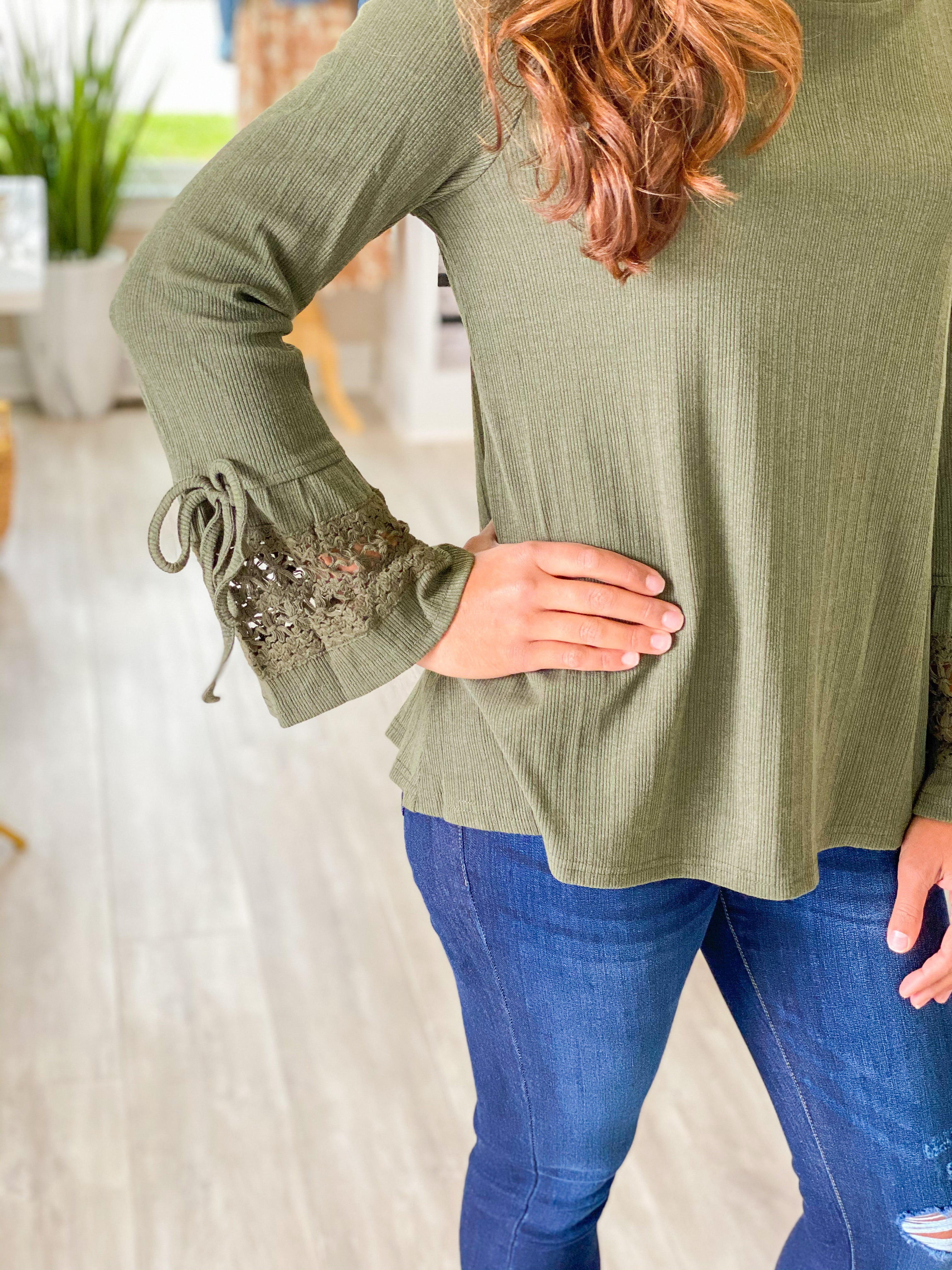 Crochet Bell Sleeve Ribbed Top