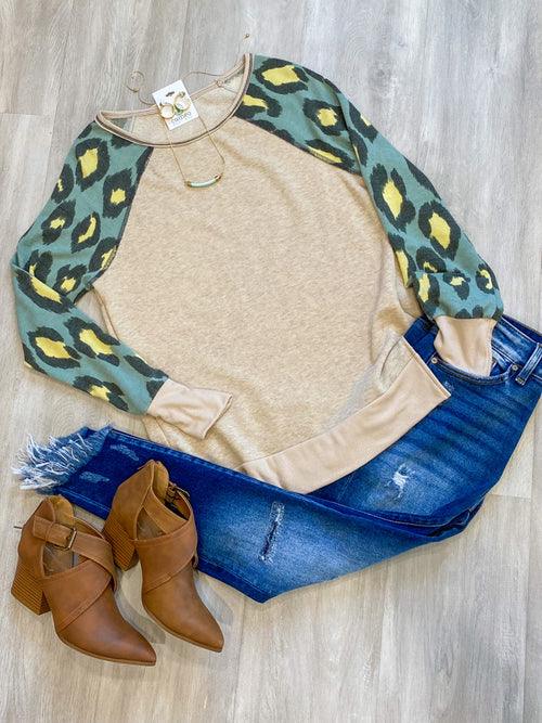Leopard Sleeve Knit Top