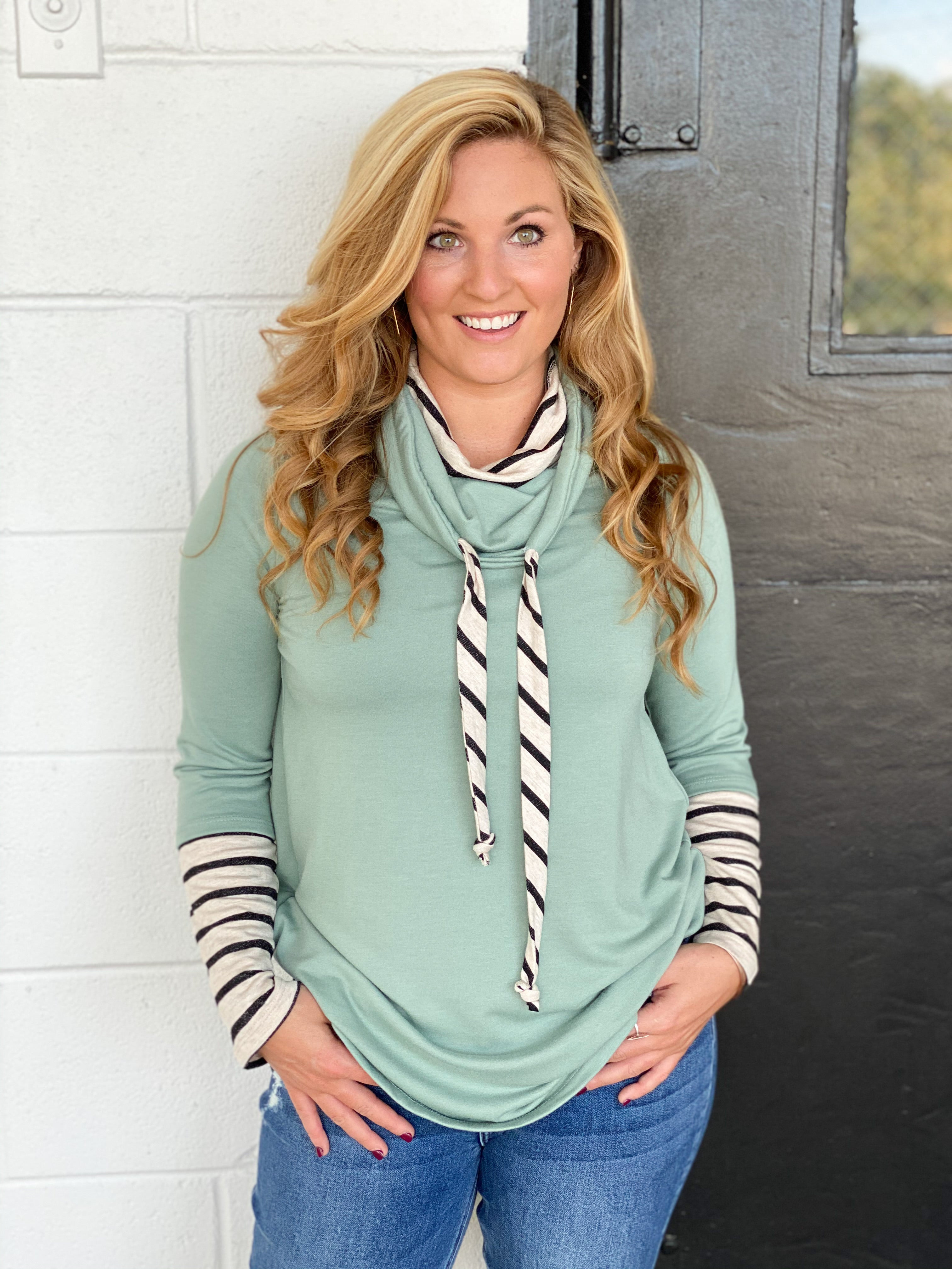Layered Cowl Neck Knit Top