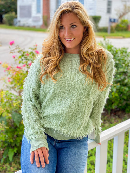 Fuzzy Dropped Shoulder Sweater