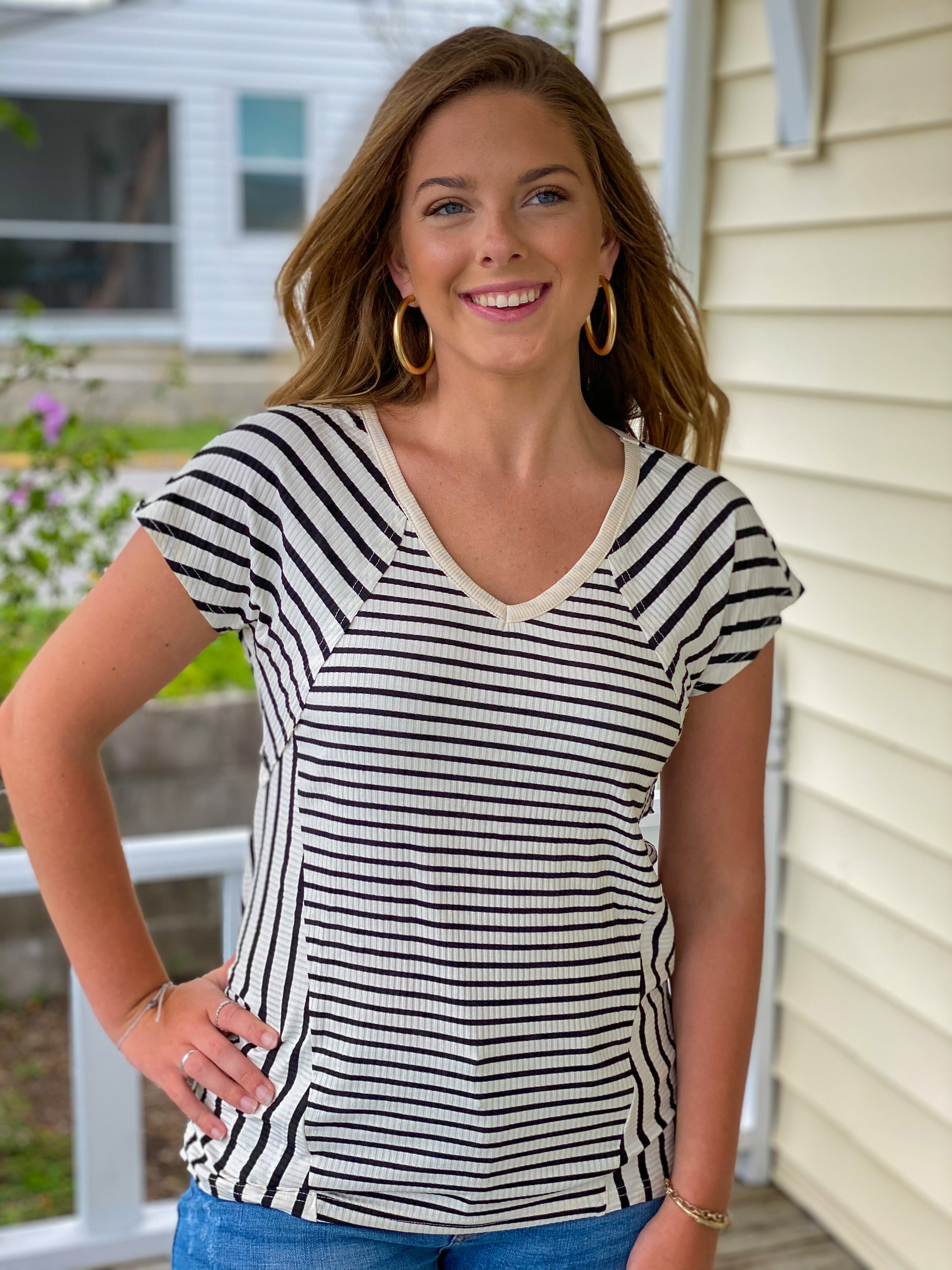 Ribbed Mixed Stripe Top