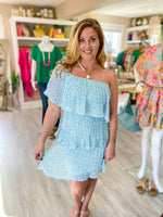 Off The Shoulder Pleated Tiered Dress