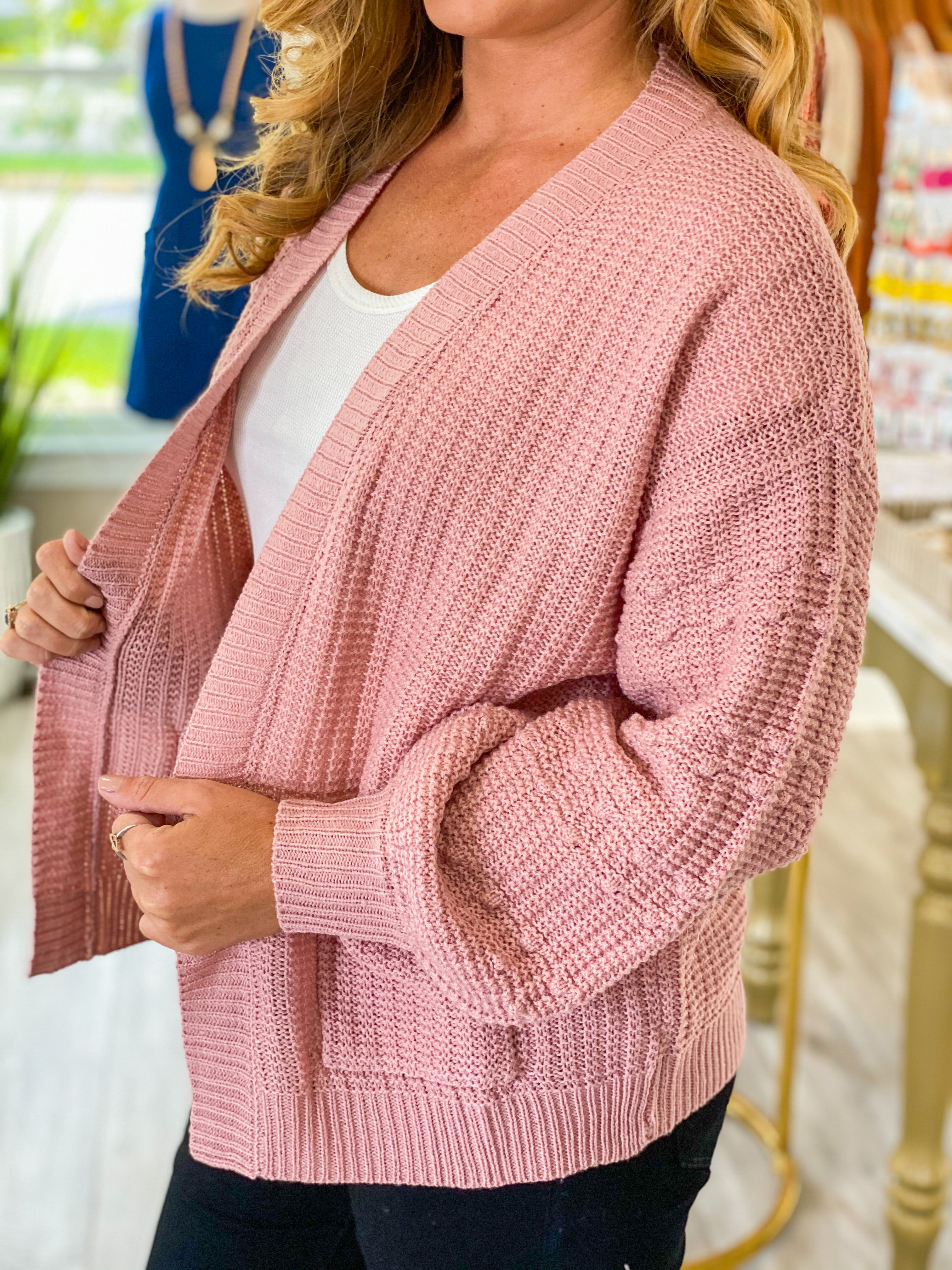 Popcorn Sleeve Knit Cardigan