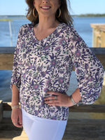 Floral Print Bubble Sleeve Woven Top