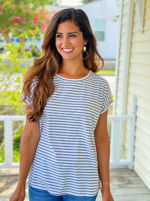 Zipper Back Mixed Stripe Top