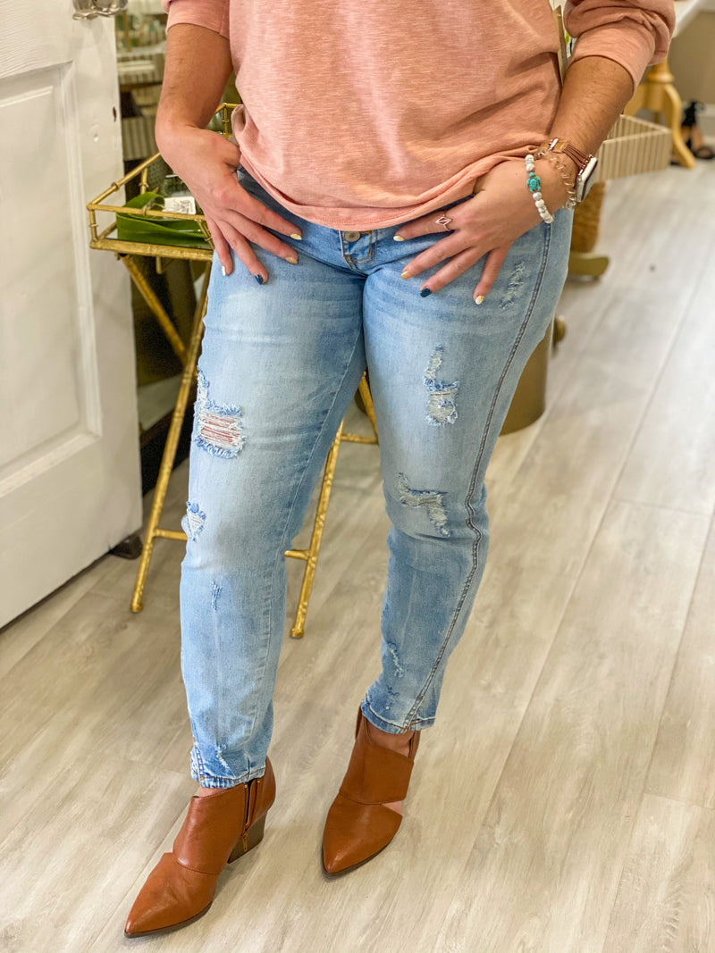 Mid Rise Button Fly Ankle Skinny