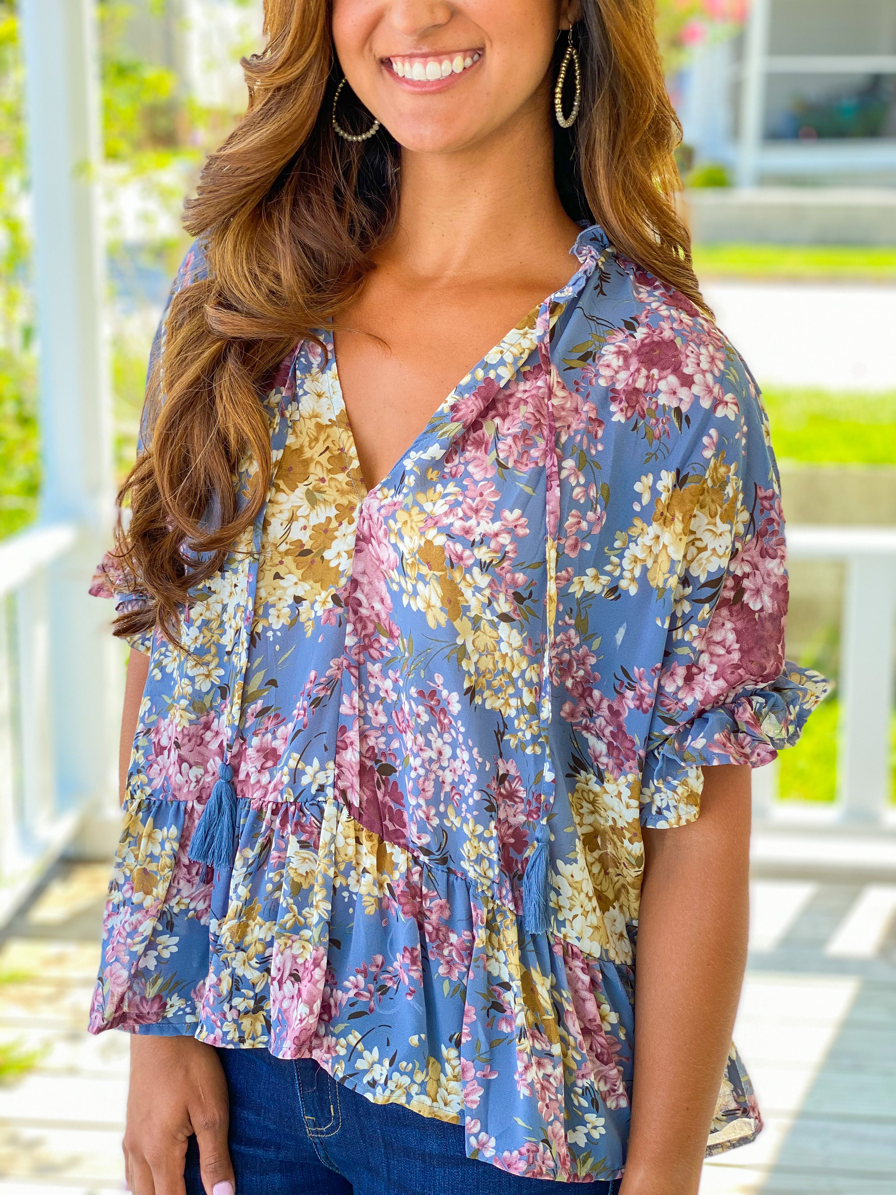 Floral V Neck With Ruffle Hem