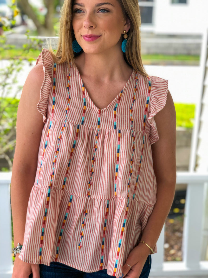 Stripe Embroidered Babydoll Top