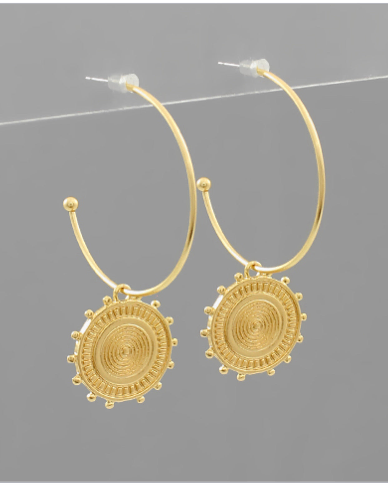Pattern Disc Charm Hoops