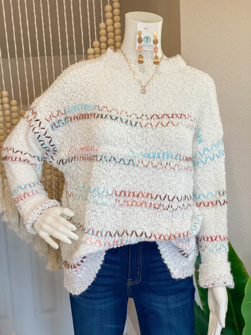 Multi Color Stripe Stitching Sweater