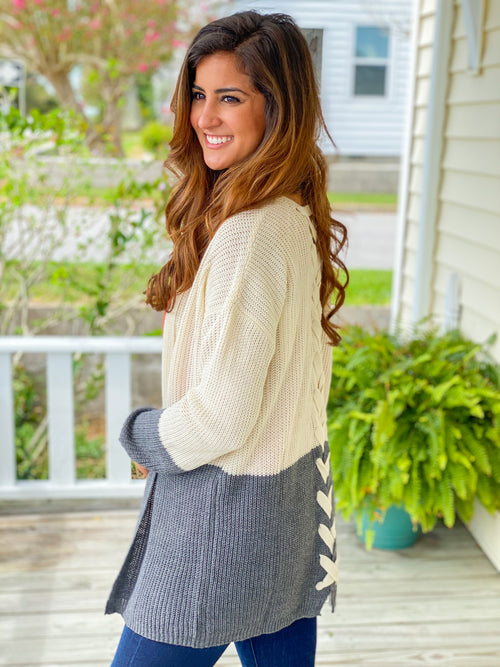 Lace Up Back Color Block Cardigan