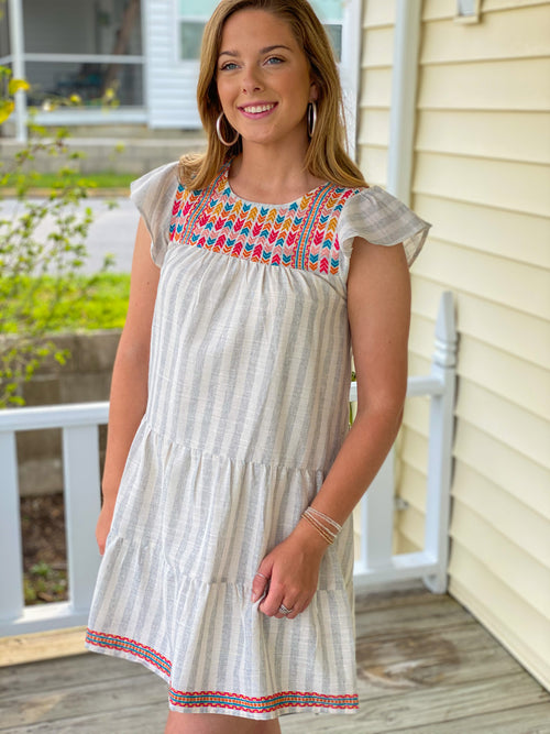 Embroidered Stripe Shift Dress