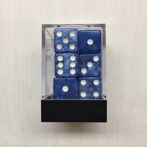 Dice Set 12d6 Marbleized (16mm) Blue / White