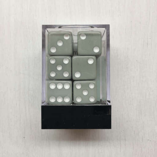 Dice Set 12d6 Pastel (16mm) Gray / White