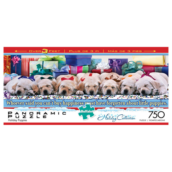 Puzzle (750pc) Panoramics : Holiday Puppies