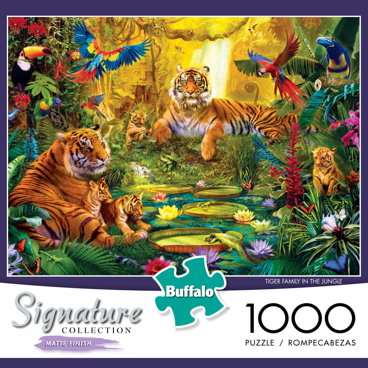Puzzle (1000pc) Tiger Family in the Jungle