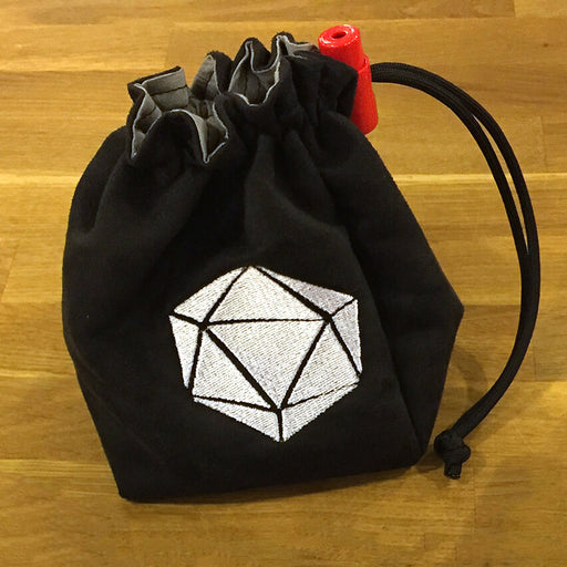 Dice Bag (4x4x6in) 20sided Logo : Black / White