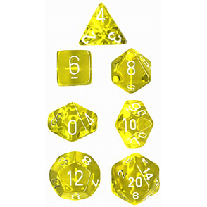 Dice 7-set Translucent (16mm) 23072 Yellow / White