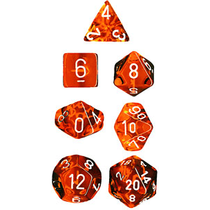 Dice 7-set Translucent (16mm) 23073 Orange / White