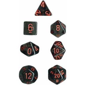 Dice 7-set Translucent (16mm) 23088 Smoke / Red